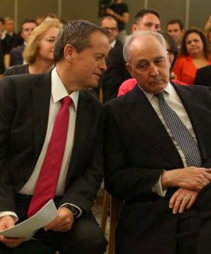 Sage advice: Bill Shorten and Paul Keating at a special caucus meeting.