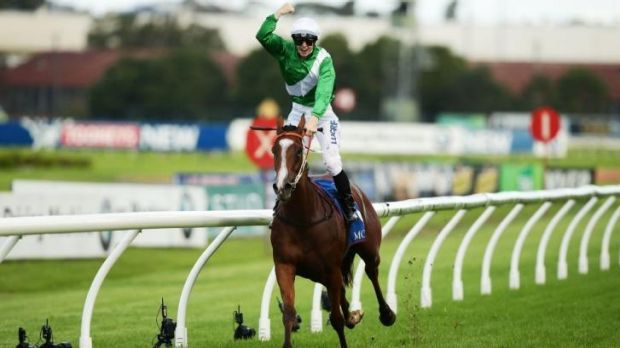 Textbook: James McDonald celebrates winning the Golden Slipper on Mossfun in April.