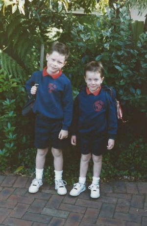 Old school: Matt Colwell (at right) with his elder brother David in 1991.