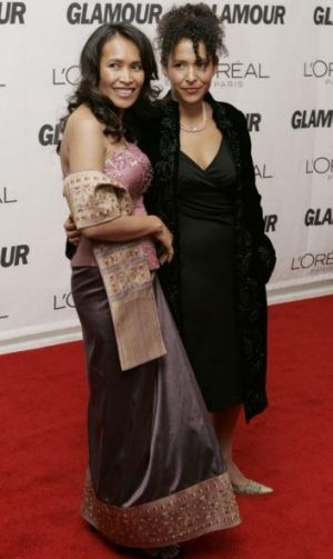 High profile: Somaly Mam (left) at a 2006 Glamour magazine awards event in New York with Mariane Pearl, widow of ...
