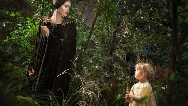 <i>Maleficent</i>: Angelina Jolie with her daughter Vivienne Jolie-Pitt, who was the only young Aurora not to cry at the ...