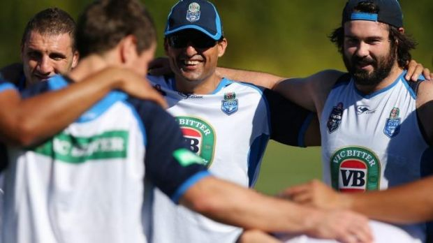 Tight: Robbie Farah, Laurie Daley and Aaron Woods.