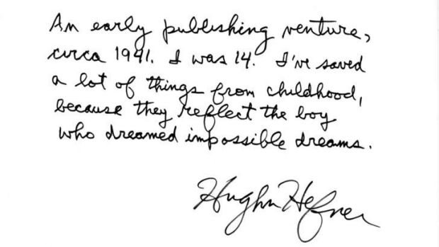 """Cherished: Hefner's letter explaining the significance of his """"early publishing venture""""."""
