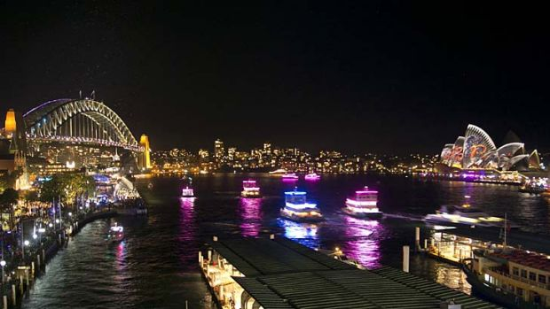 Sydney Vivid in full swing. Weekend festivities face disruption from industrial action by Harbour City Ferries staff.