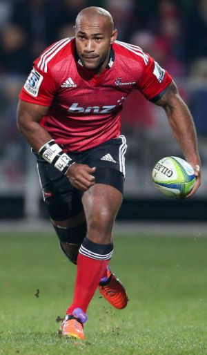 Nemani Nadolo of the Crusaders runs the ball.