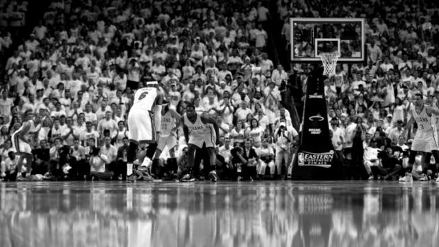 It's all there in black and white: LeBron James brings the ball up the floor as Lance Stephenson defends during game six ...
