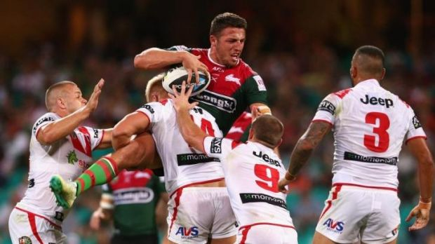 Sam Burgess is the centre of the Dragons attention at the SCG.