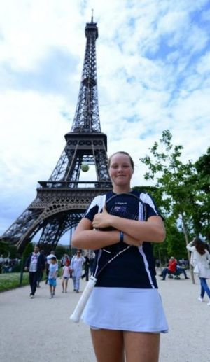 Olivia Gadecki at the Eiffel Tower.