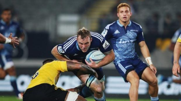 Luke Braid of the Blues charges forward during the round 16 Super Rugby match between the Blues and the Hurricanes at ...