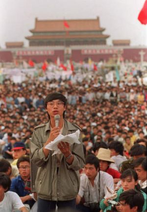 Student leader Wang Dan in Tiananmen Square Beijing calling for a city wide march.