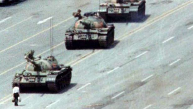 The iconic 'Tank Man' image that swept the world.