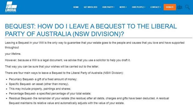 A screen grab from the NSW Liberal page explaining how people can leave a bequest to the party.
