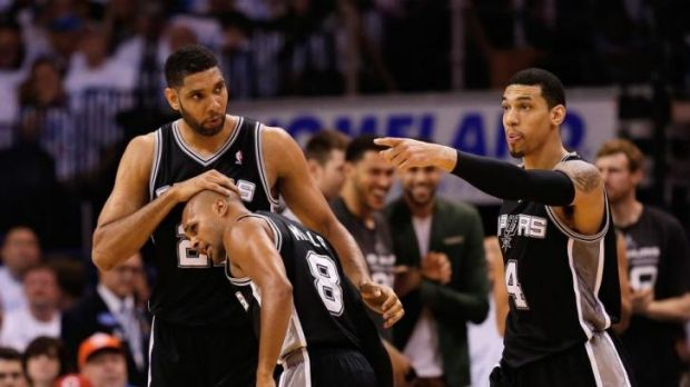 Finals call: Tim Duncan (left), Patty Mills and Danny Green sense victory.