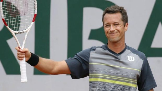Germany's Philipp Kohlschreiber salutes the crowd.