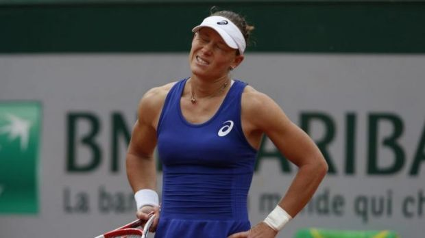 Australia's Samantha Stosur after missing a return during her close-fought fourth round French Open match against Maria ...