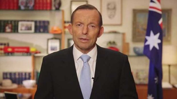 A still from Tony Abbott's video message on the D-Day landings and the trade trip to Europe.