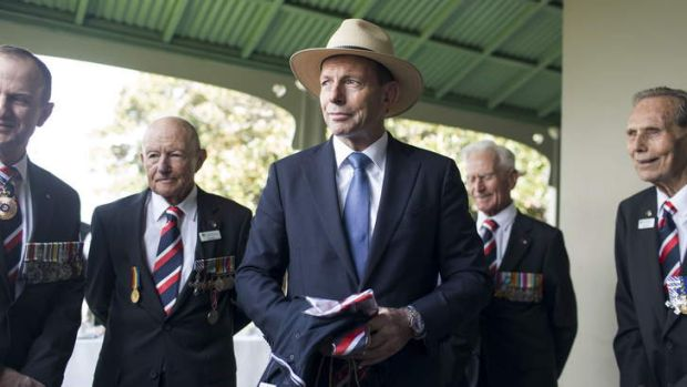 Prime Minister Tony Abbott meets with D-Day veterans on Saturday.