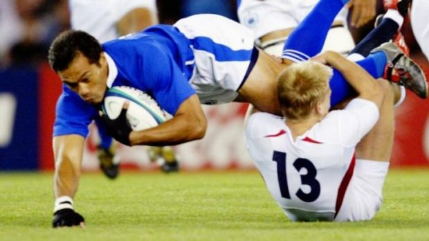 Charged: Brian Lima in action at the 2003 World Cup.