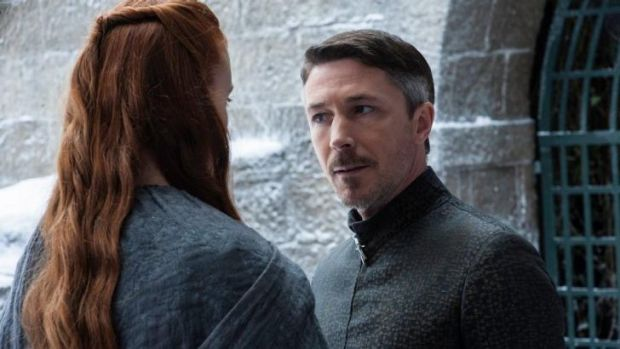 Mooning over Lysa? Hardly ... Petyr Baelish sets his sights on Sansa now he's no longer married.