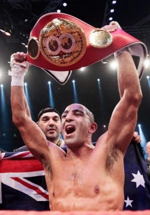 Australia's Sam Soliman celebrates with the IBF World Middleweight Championship Belt after a unamimous points victory ...