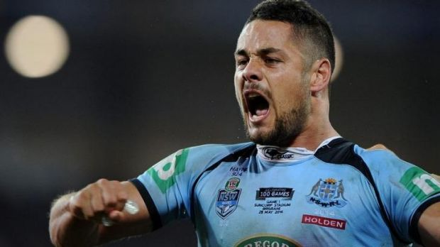Exhausted: man of the match Jarryd Hayne.