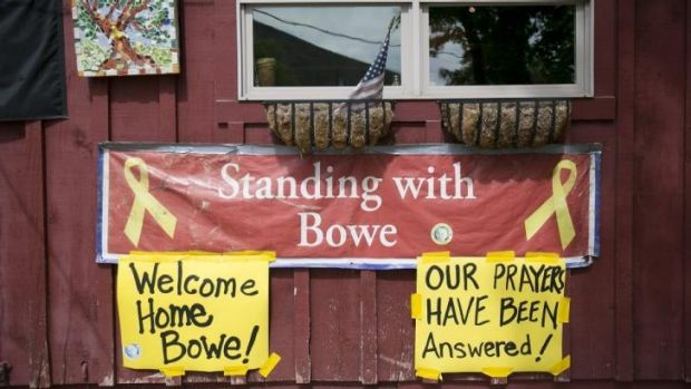 Home front: signs celebrating Sergeant Bergdahl's release in his hometown of Hailey, Idaho.
