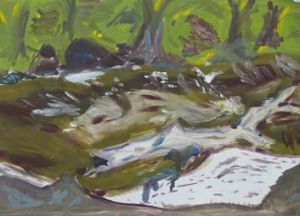 A painting of the Macquarie River that he sold for not-for-profit organisation RiverSmart in 2013.