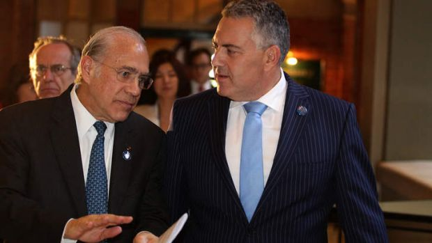 OECD secretary-general Angel Gurria with Treasurer Joe Hockey in February. Mr Gurria said a carbon tax or emissions ...