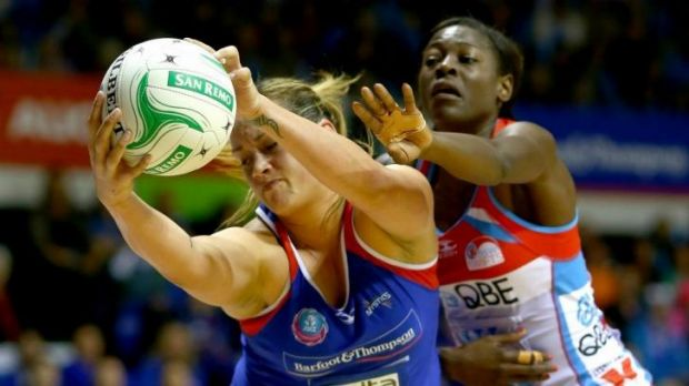 Cathrine Latu of the Mystics gets possession ahead of Sonia Mkoloma of the Swifts during their match on Sunday.