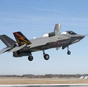 A Lockheed Martin F-35B Lightning II short takeoff, vertical landing stealth fighter.