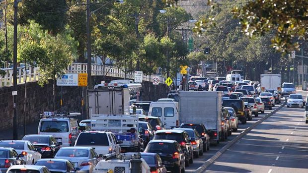 Life in the slow lane: Morning peak-hour traffic congestion on Broadway. New analysis shows traffic in the harbour city ...