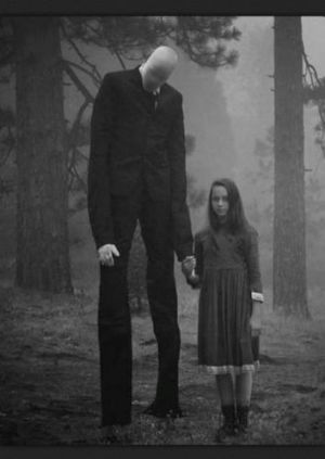 An image of the imaginary bogeyman Slenderman.