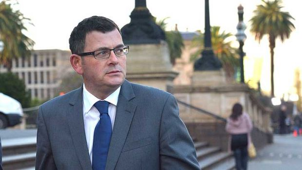 Daniel Andrews at State Parliament as the crisis unfolds arround him on Wednesday morning.