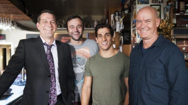 Boys' club: From left, Rhys Muldoon, Gyton Grantley, Firass Dirani and Gary Sweet in House Husbands.