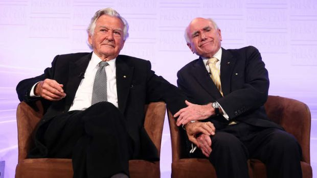 Former prime minister Bob Hawke with former prime minister John Howard at the National Press Club's 50th anniversary address.