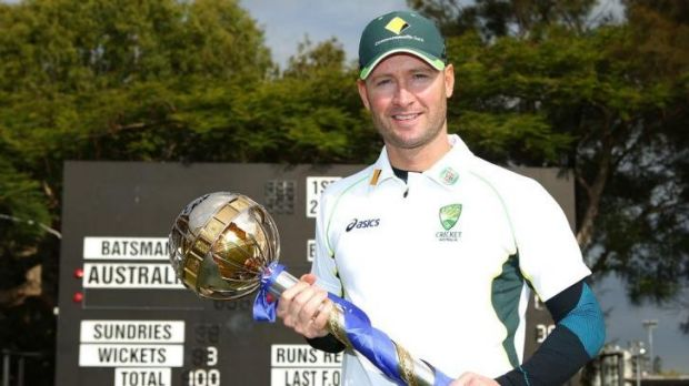 Back on top ... Michael Clarke holds the Reliance ICC Test mace  during a presentation at Cricket Australia Centre of ...