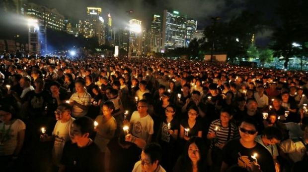 Record attendance ... organisers say that up to 180,000 people attended the ceremony in Hong Kong.