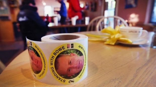 A roll of stickers showing support for Sergeant Bowe Bergdahl sit on a table inside of Zaney's coffee shop where ...