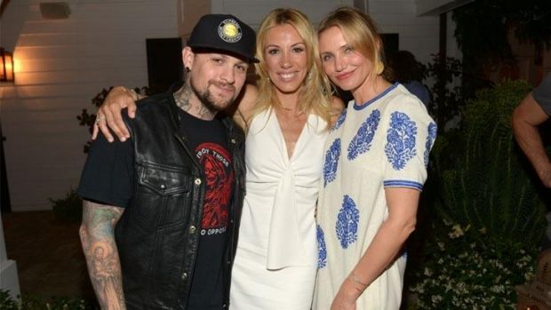Musician Benji Madden, author Vicky Vlachonis, and actress Cameron Diaz celebrate the launch of The Body Doesn't Lie by ...