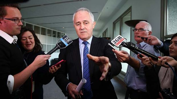 Question time: Malcolm Turnbull addresses the media in Canberra on Thursday.