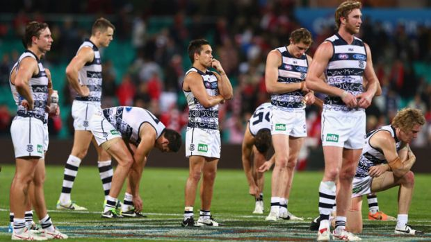 The troughs: Geelong after their 110 point round 11 loss to Sydney.