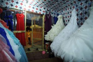 Inside a bridal shop in the refugee camp.