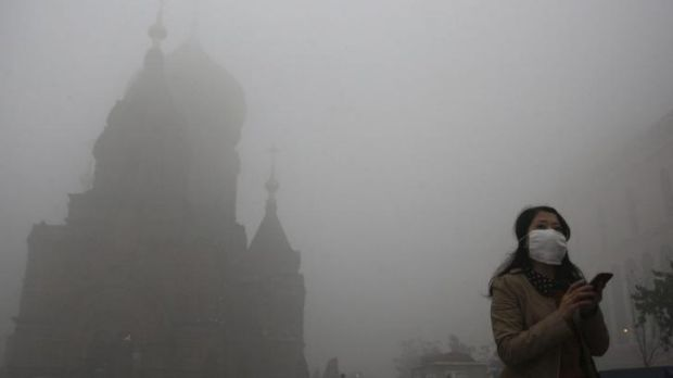 Pollution in north-east China - one spur for cleaning up emissions.