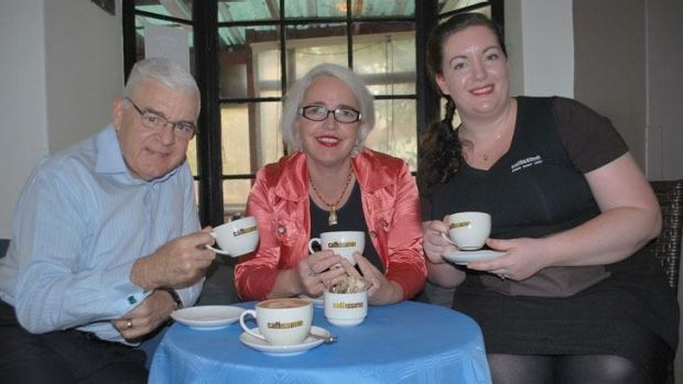 Mike Barr, Alida Cubbage and barista Melissa from Caffissimo West End.