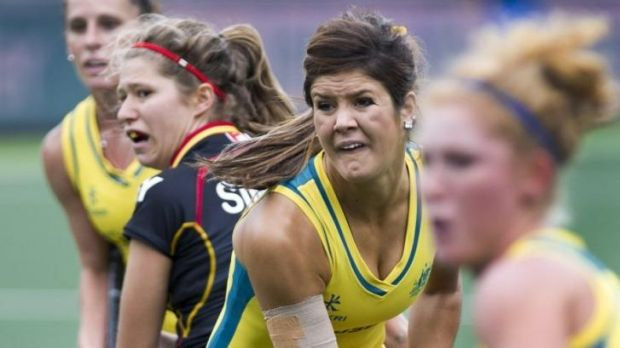 Anna Flanagan (C) scores for the Hockeyroos against Belgium.