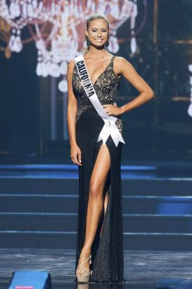 Cassandra Kunze, Miss California USA, competes in her evening gown during the 2014 Miss USA Preliminary Competition.