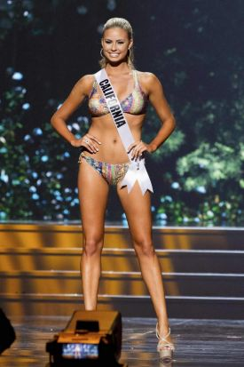 Cassandra Kunze, Miss California USA, competes in her Kandice Pelletier swimwear and Chinese Laundry shoes during the ...