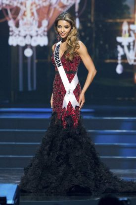 Elizabeth Ivezaj, Miss Michigan USA, competes in her evening gown during the 2014 Miss USA Preliminary Competition.