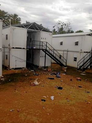 The scene at Manus Island following the riot.