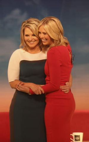 Tearful farewell: Georgie Gardner with her today show replacement Sylvia Jeffreys.